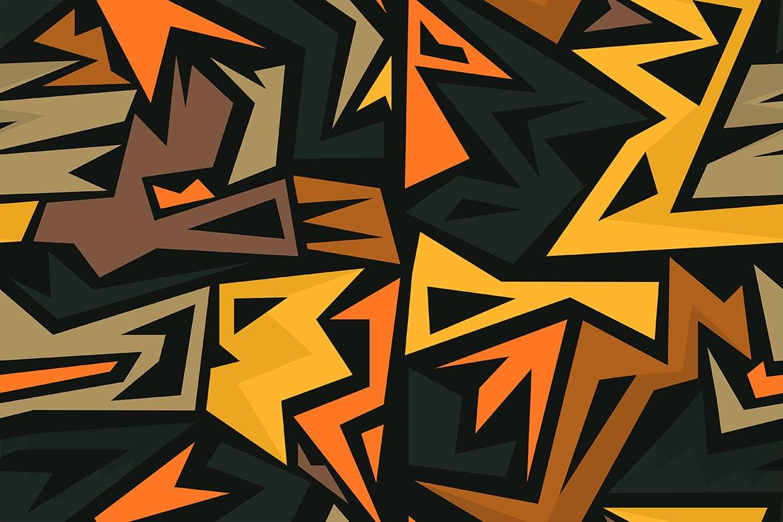 创意涂鸦迷宫无缝图案纹理抽象背景Graffiti Maze Seamless Patterns