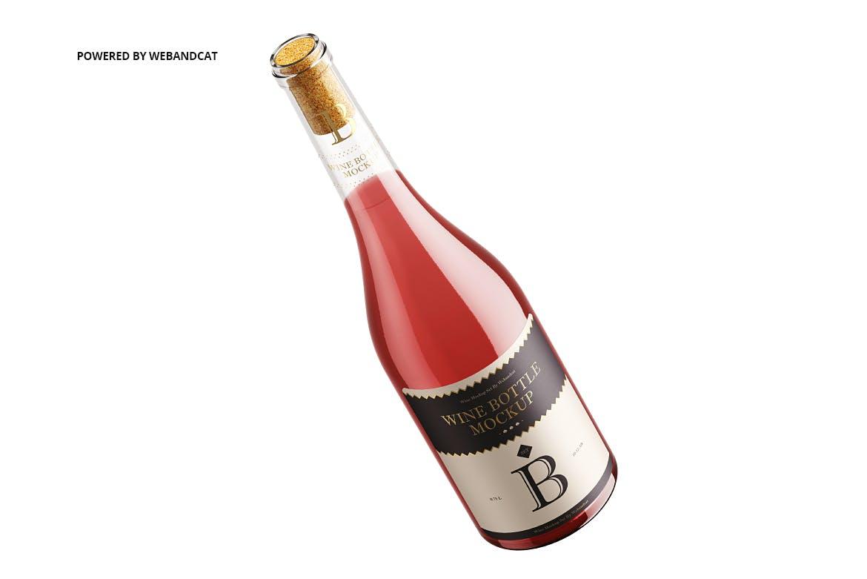 时尚简约高端红酒酒瓶葡萄酒包装设计VI样机展示模型mockups