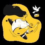 [可商用]黄色脑洞大开创意手绘卡通人物生活场景插画B_taxi插图9
