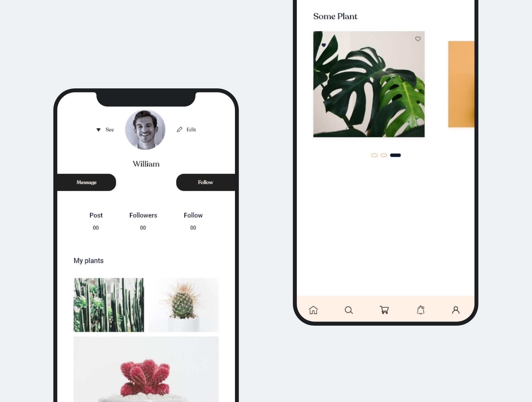 极简主义个人社交app设计iOS Ui APP UI KIT套装下载[XD] Silvana UI Kit