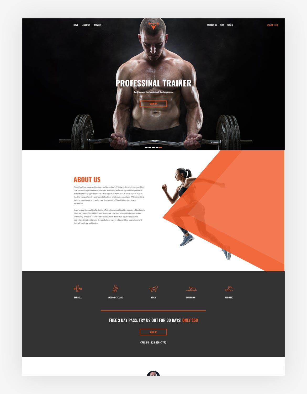 专业运动健身房官方网站设计模板(psd)Mainfiles