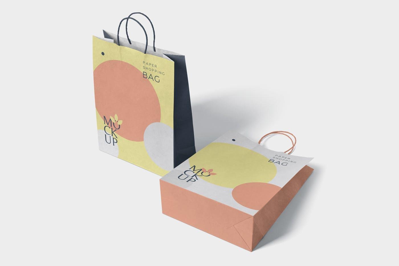 多用途手提纸袋子环保超薄购物袋设计样机素材下载[PSD] 5-paper-shopping-bag-mockups-S75TX8N-2019-08-01