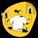 [可商用]黄色脑洞大开创意手绘卡通人物生活场景插画B_taxi插图11