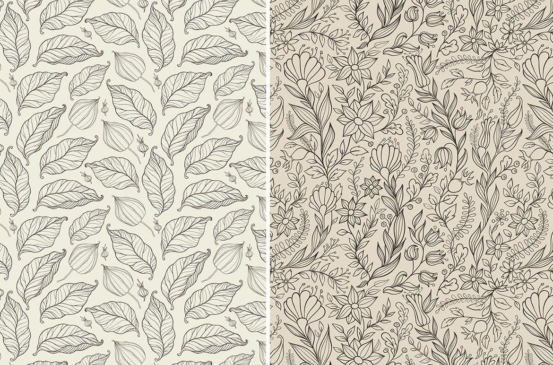 花卉无缝纹理植物花纹图案背景Floral Seamless Patterns