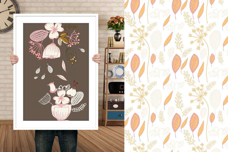 创意花瓣植物花圈飞花纹理背景图案 Flying Flowers