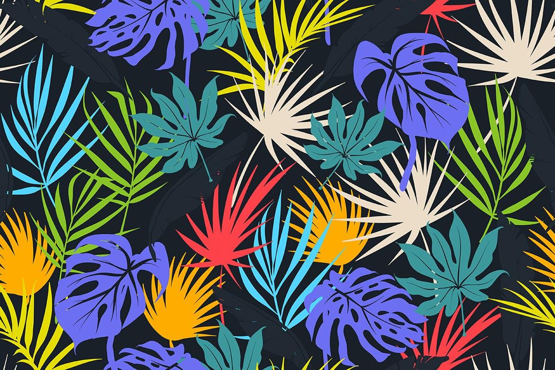 抽象图案花纹凉爽的热带叶子纹理夏日背景Colorful Tropical Foliar Seamless Patterns