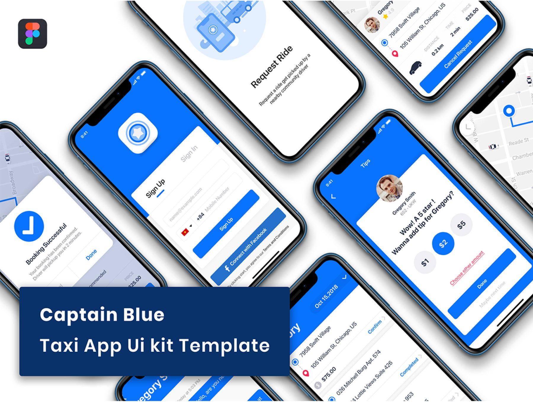 蓝色打车租车多功能 APP UI KIT 套装模板下载 ui设计app iOS Ui [Fig] Captain Blue - Taxi App UI Kit