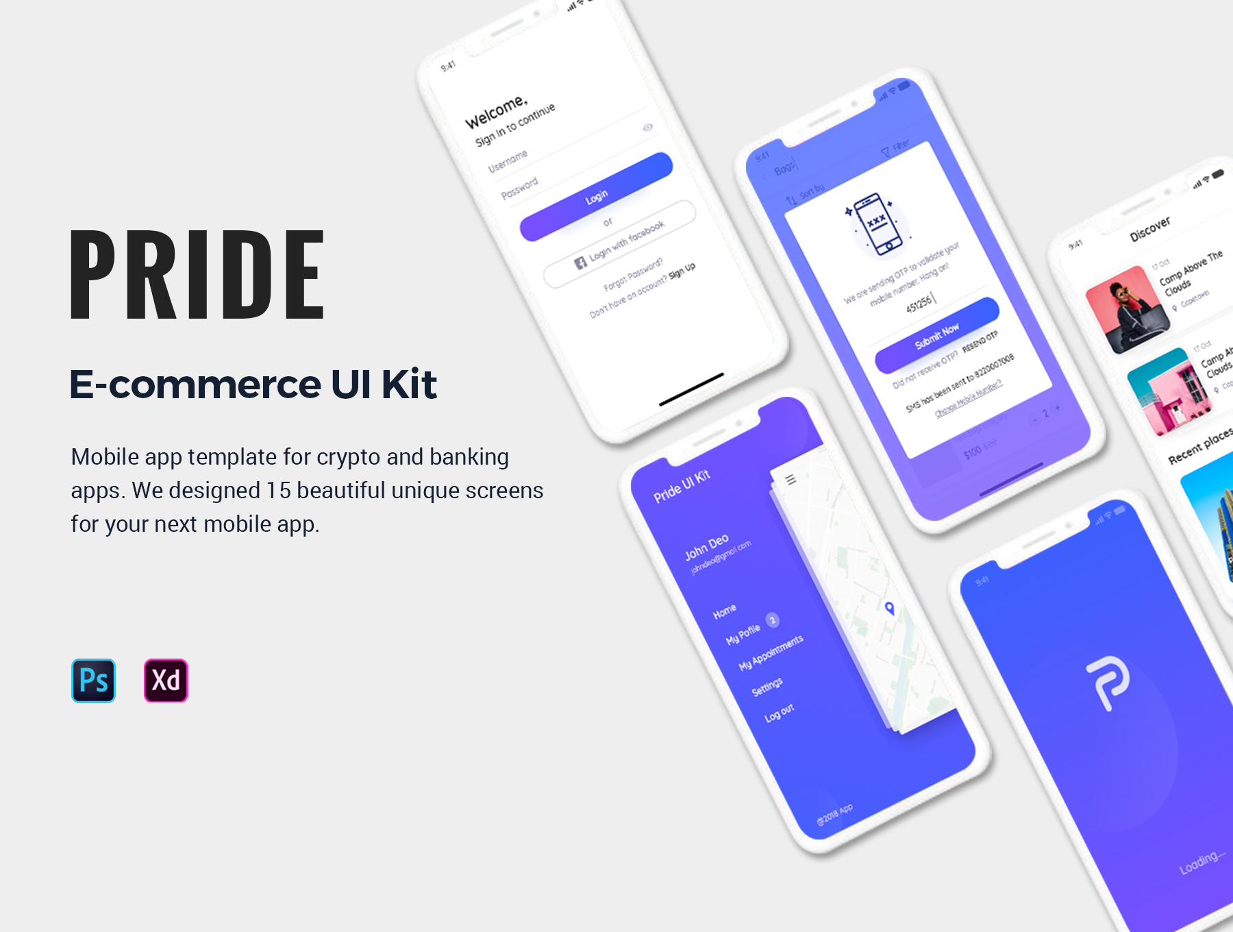 优秀的电商APP UI KIT套装下载[XD,PSD] Pride-E-Commerce-Mobile-App-UI-Kit