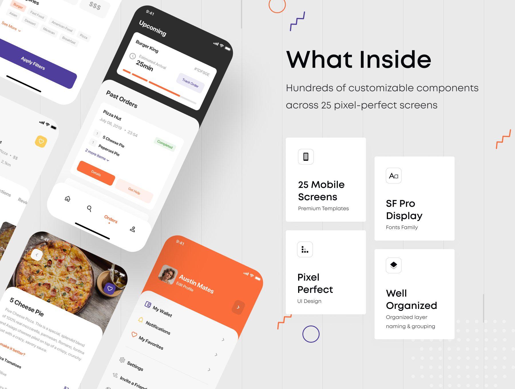 餐饮送餐服务类iOS APP UI KIT 界面设计模板下载[Sketch,fig] Nibble iOS UI Kit