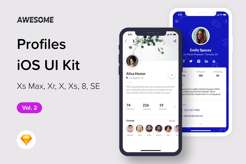 优秀的iOS UI 规范个人中心设计模板下载[Sketch] awesome-ios-ui-kit-profiles-vol-2-sketch