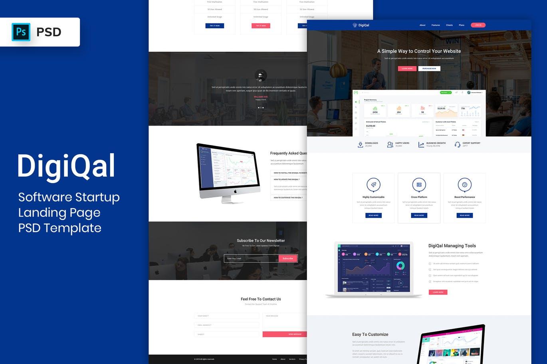 时尚高端简约多用途的高品质专业软件启动 – 登陆页面PSD网站设计模板 Software Startup Landing Page PSD Template