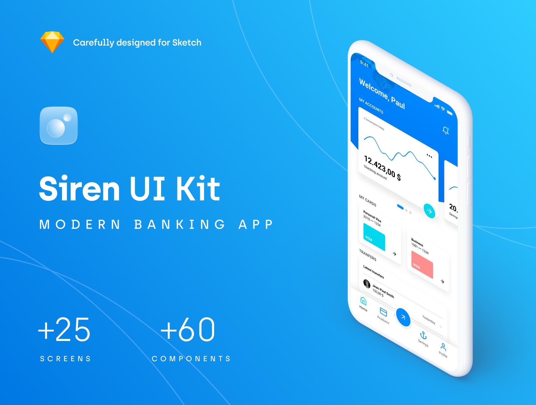 金融网银相关功能的APP UI KIT套装下载[Sketch] Siren_Financial_UI_Kit
