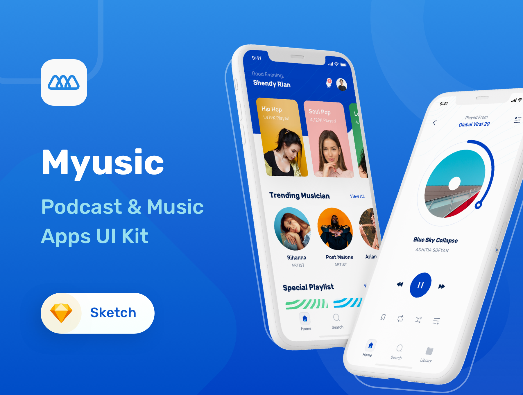 音乐和播客 APP UI kit 套装下载[Sketch] Myusic Music Podcast UI Kit