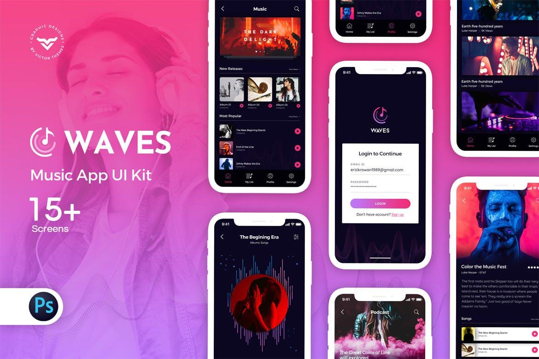 音乐主题的APP UI KIT套装下载[PSD] Waves-Music-App-Ui-Kit