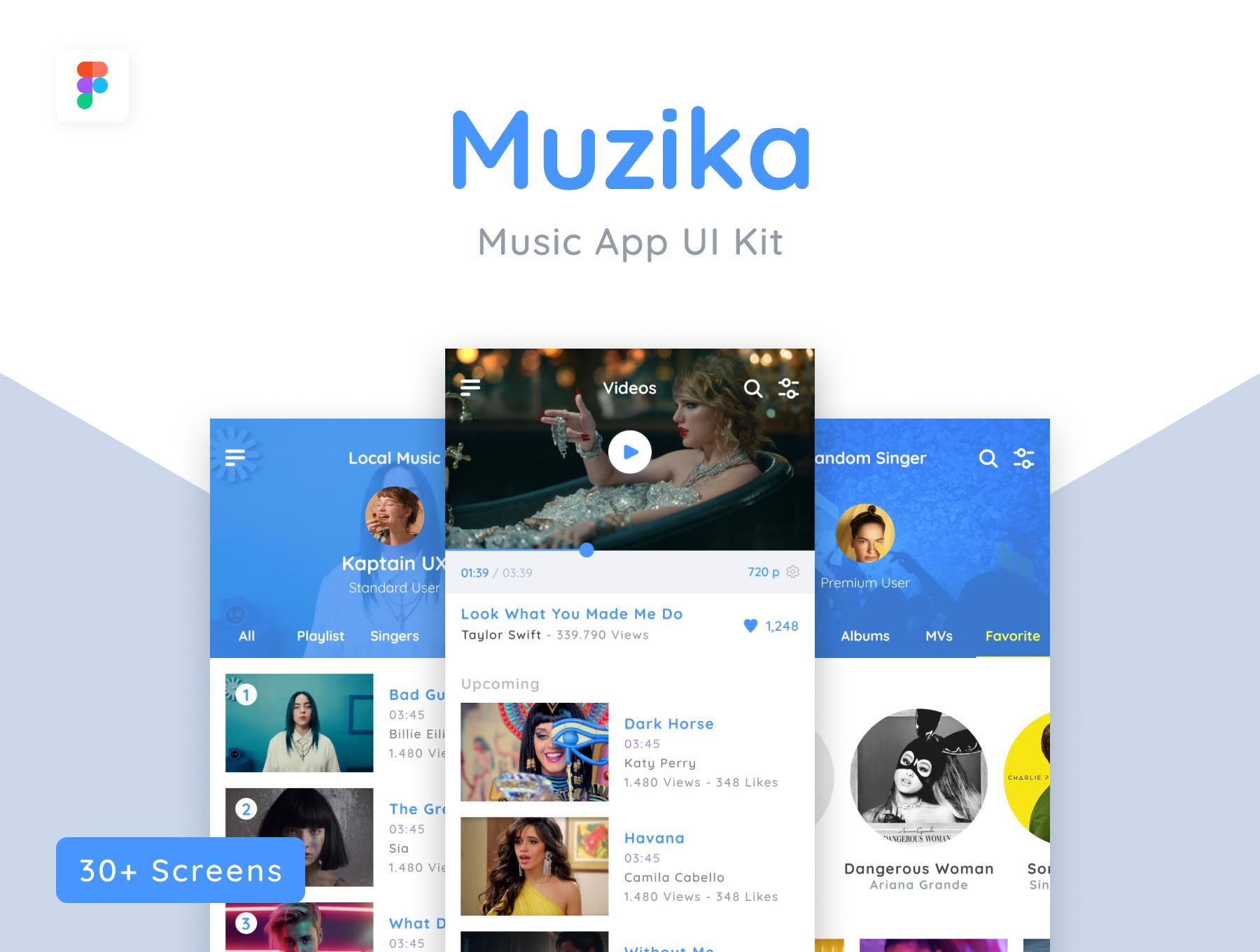 极简主义风格音乐类APP UI KIT套装下载 [fig] Muzika - Music UI Kit