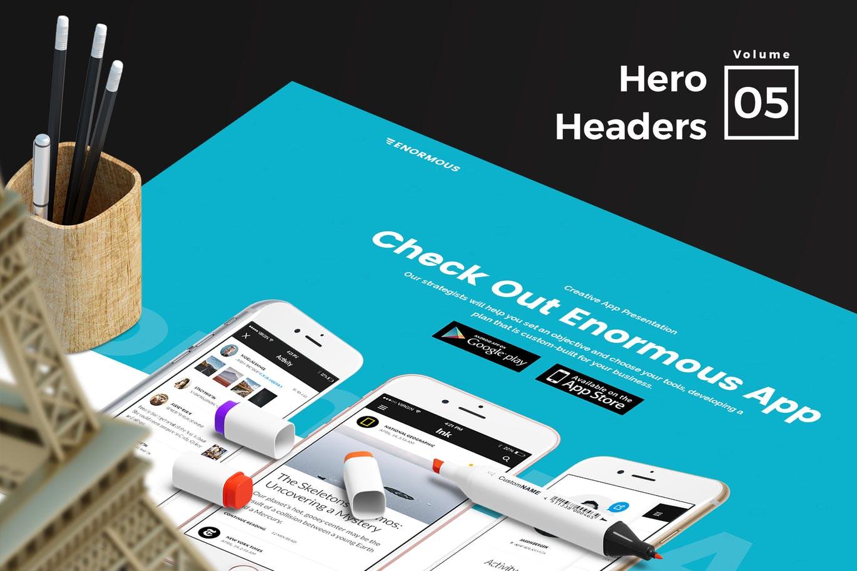 适合各种网页设计项目令人惊叹的17 Hero Headers设计模板vol.5 Hero Headers vol 05