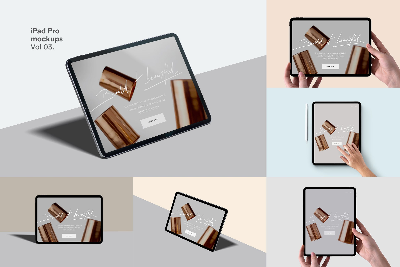 苹果 平板电脑样机 iPad Pro 多角度手持样机素材下载ipad-pro-mockups-75RKEQE