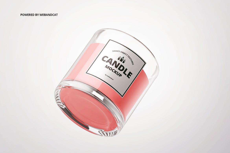 高品质的蜡烛展示样机少见稀有烛台包装设计VI样机展示模型candle-in-glass-mockups