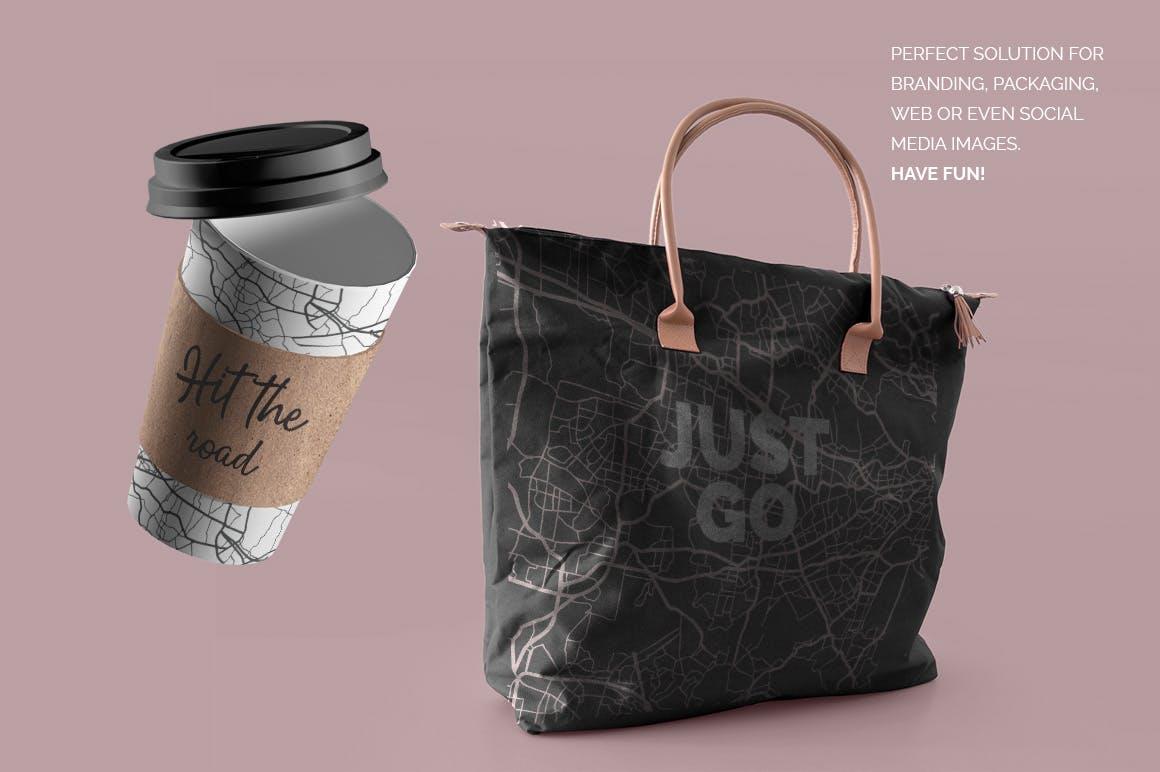 品牌项目包装设计城市地图的花木图案纹理背景Map Patterns