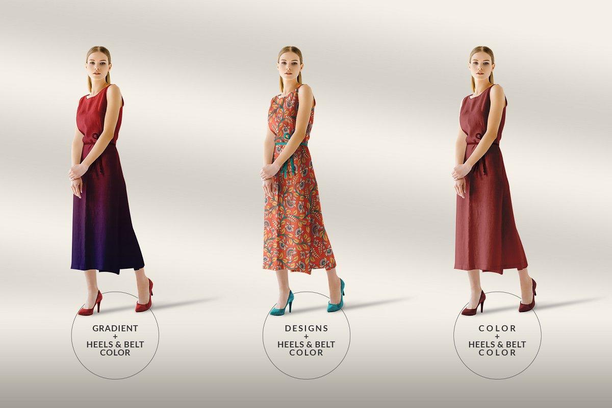 女性夏季无袖连衣长裙女人礼服设计样机Women Sleeveless Summer Dress Mockup