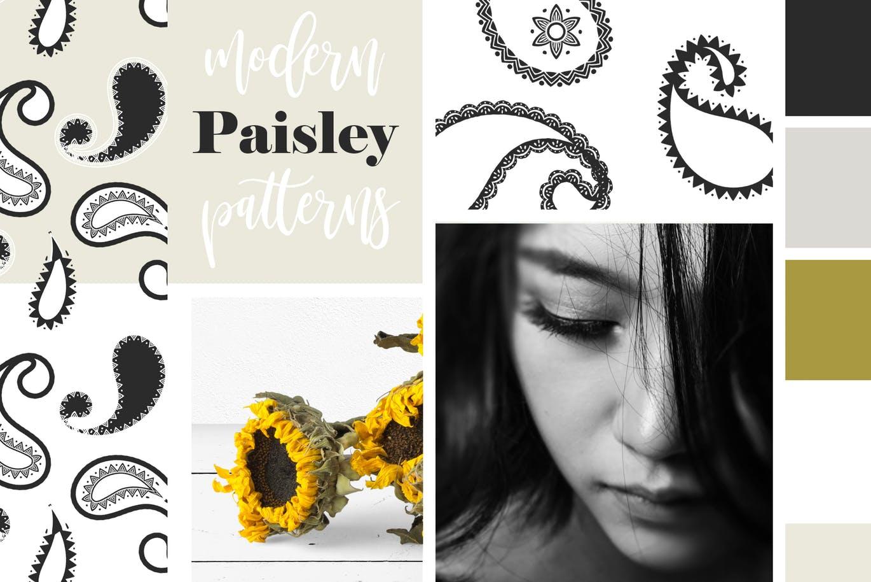 经典装饰设计代佩斯利无缝矢量图案包装背景纹理Modern Paisley Seamless Patterns