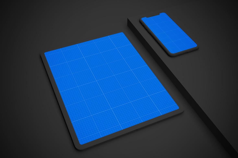苹果手机电脑深色 iPhone 11 & iPad Pro 样机素材下载dark-iphone-11-ipad-pro-v-2-QZD4RQG
