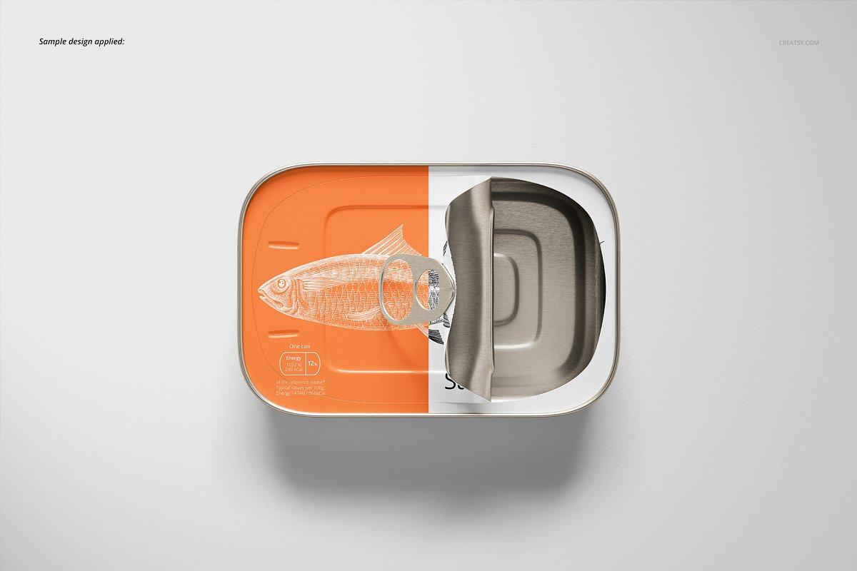 沙丁鱼包装设计品牌铁罐头包装设计展示样机mockups素材下载Sardine Fish Tin Can Mockup Set