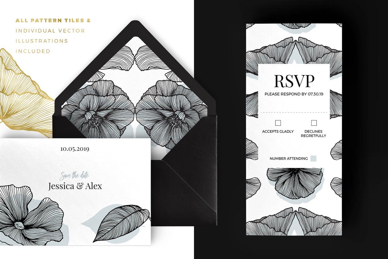 包装设计植物线性花卉图案和设计元素背景图案纹理Lineart Floral Patterns & Elements