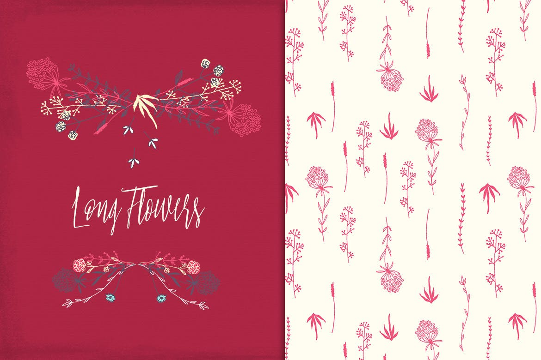 高档品牌家居包装设计图案植物花卉背景图案纹理Long Flowers