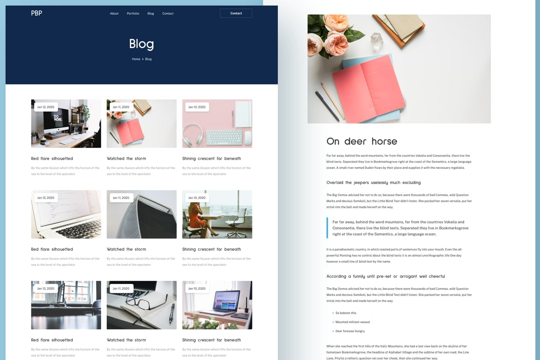 新孟菲斯风格的个人响应式网站网页设计UI模板personal-portfolio-responsive-template