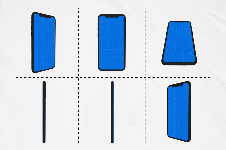 黑色苹果手机样机iPhone 11 APP UI样机展示模型mockups  dark-iphone-11-kit