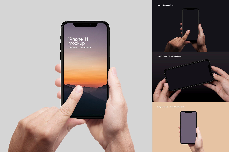 简单的手持苹果手机 iPhone 11 手机样机素材下载smart-phone-mockup-95LUHZQ