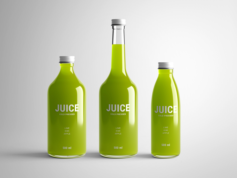 玻璃瓶子果汁瓶外观包装设计样机模板mockups套装Juice Mock-Up 25130403