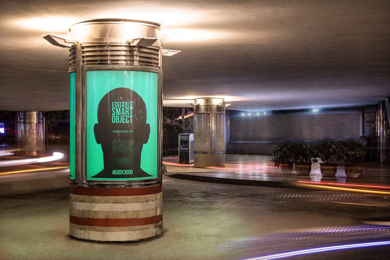 室内灯光下的圆柱广告牌设计样机素材下载urban-poster-billboard-mock-ups-night-edition-6-8S6APS7
