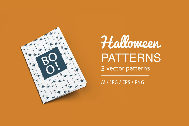 万圣节蝙蝠糖果鬼无缝图案背景纹理Halloween Patterns