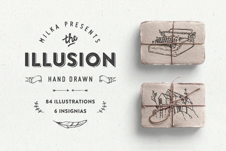 复古物品植物动物标识图案背景纹理Illusion – hand drawn collection