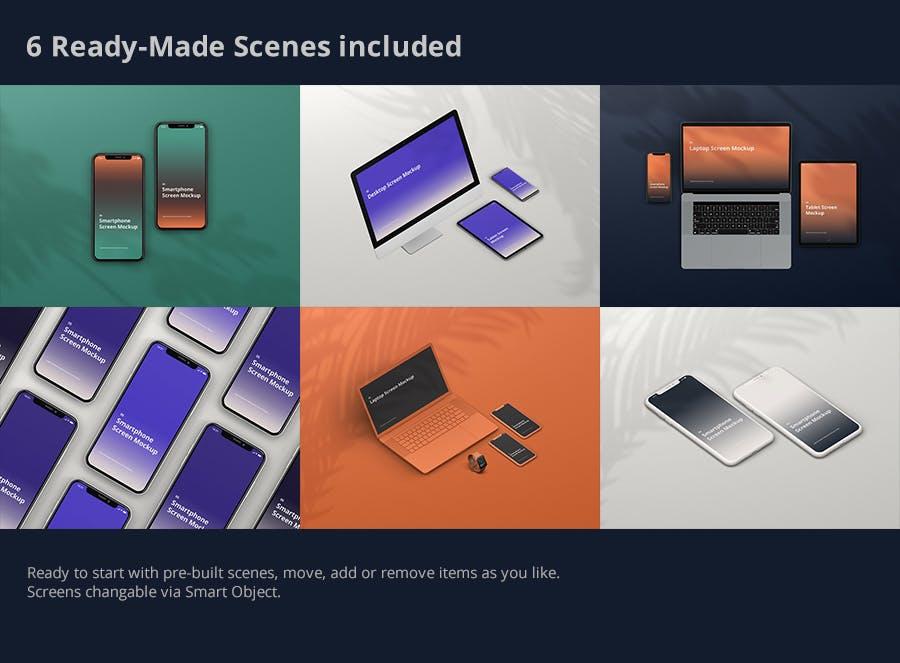 苹果手机macbook ipad iphone 11展示多设备屏幕模型样机multi-device-screen-mockup-creator-N3TH7C4