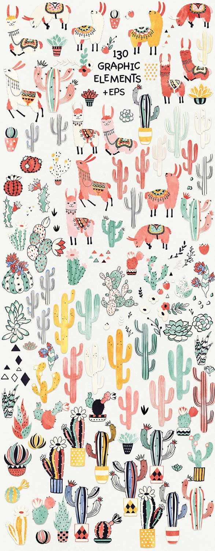艺术的手绘图形和图案骆驼和仙人掌背景图案纹理Llamas and Cacti