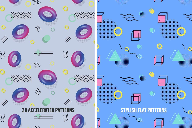 流行孟菲斯风格设计几何设计元素怀旧图案纹理背景Memphis Space Seamless Patterns