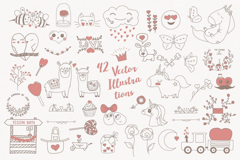 温馨可爱插图甜蜜图形甜美背景无缝矢量图案纹理Mom! I\'m in Love! Vector Set