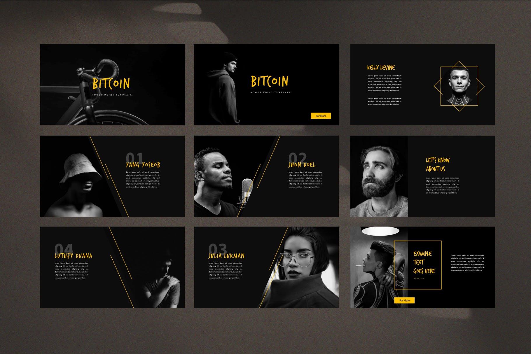 高档黑色科技时尚国际数字业务的PPT模板幻灯片下载(PPTX)bitcoin-business-presentation-template-ls-5F4L97H