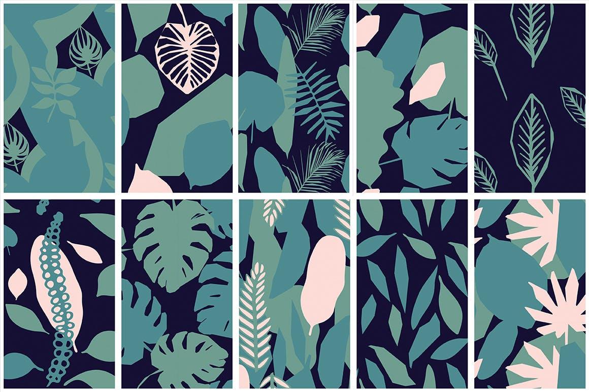 40种丛林无缝矢量图案野生植物手绘的图案背景纹理Jungle Patterns Collection