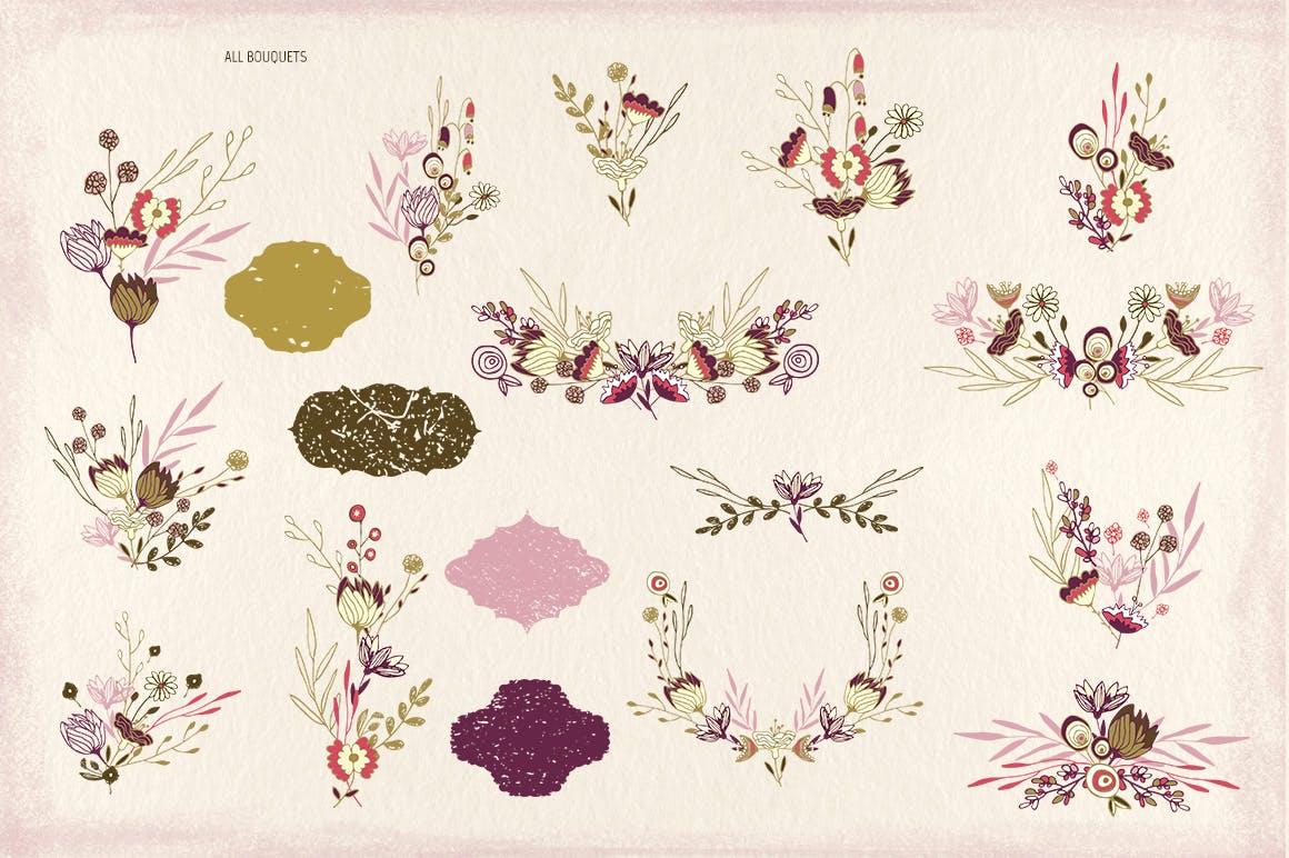 品牌VI设计剪贴画图形的邀请函薰衣草花背景图案纹理Lavender Flowers