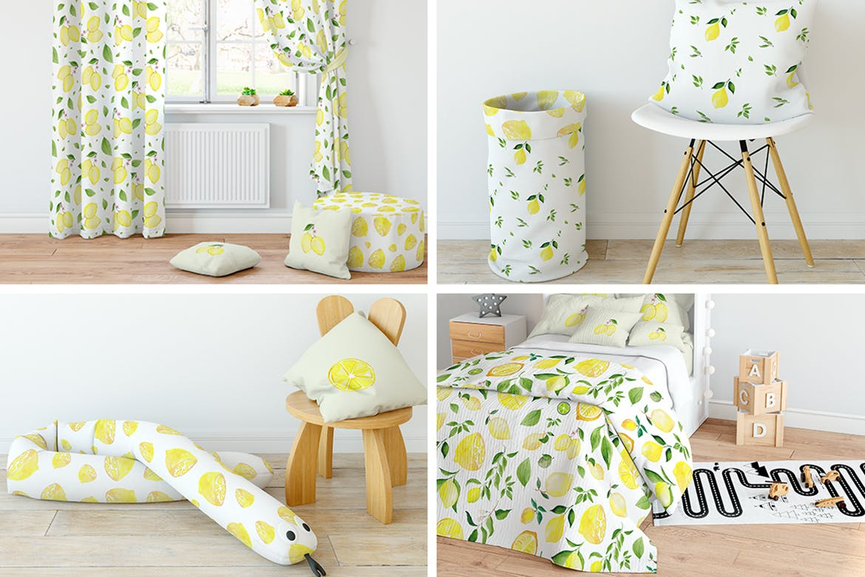 手绘水彩植物树叶柠檬清新背景图案纹理Lemons & Limes Watercolor Collection