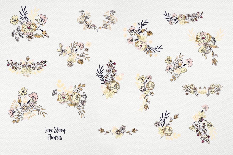 高档植物图案品牌设计纹理爱情故事花朵纹理Love Story Flowers