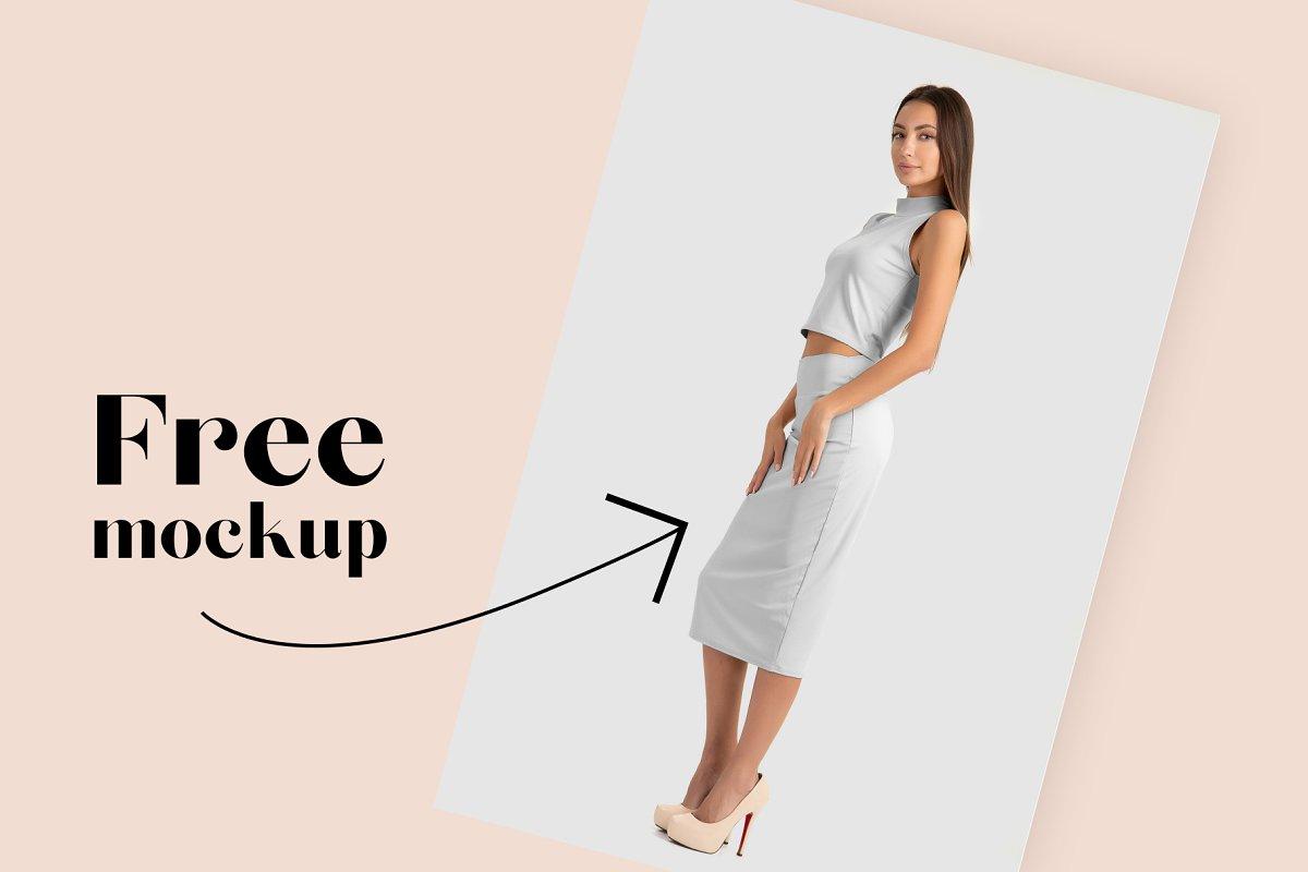 女性优雅的西装裙子套装样机服装多各角度展示模板Woman Elegant Skirt Suit Mockup Set