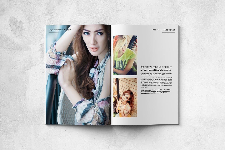 时尚女性时装A4尺寸的专业大图服饰画册杂志模板下载[PSD]photo-magazine-bifold-a4-us-letter-32-pgs-ZDV6GFC