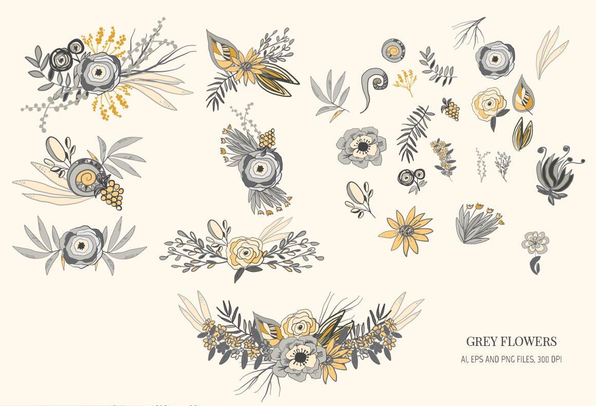 精致皇家植物花朵图案背景纹理Grey Flowers