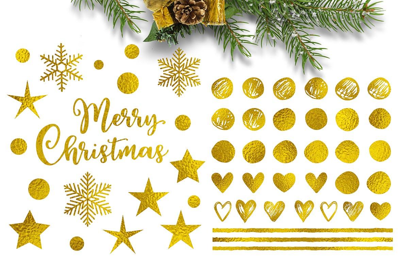 节日快乐金色圣诞节鹿鸟元素设计套件Happy Holidays Golden Christmas Design Kit