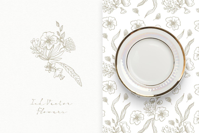 高端花纹墨水矢量花朵图案背景纹理Ink Vector Flowers